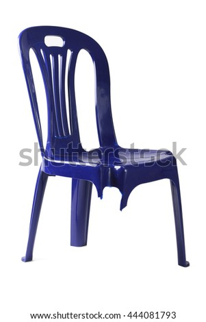 Plastic Chair with Broken Leg on White Background