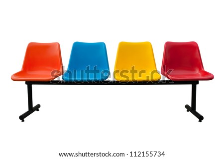 plastic chairs at the bus stop isolated on white background with clipping path - stock photo