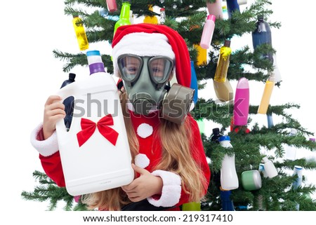 Plastic Christmas - pollution, consumerism and environment concept - stock photo