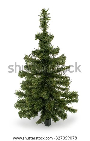 Plastic Christmas tree isolated on white