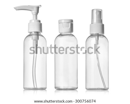 Plastic Clean Three blank bottles With Dispenser Pump on white background - stock photo