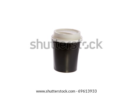 Plastic coffee cup with lid.  isolated on white with room for your text - stock photo