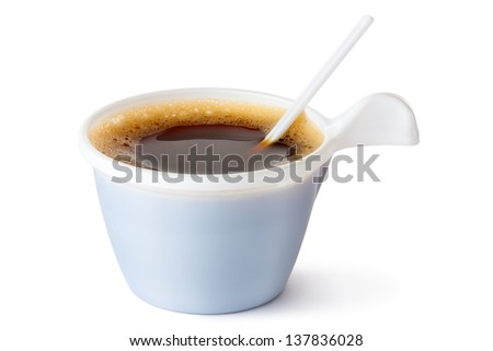 Plastic coffee mug with a spoon. Isolated on a white. - stock photo