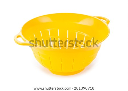 plastic colander isolated on white background - stock photo