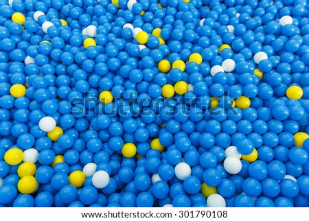 plastic colorful blue ball in close up background
