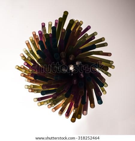 Plastic colorful straws - stock photo
