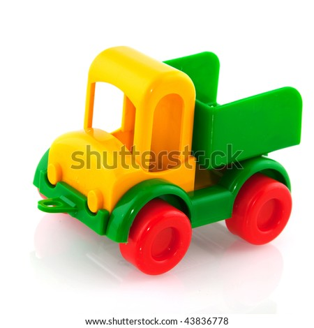 Plastic colorful toy truck isolated over white