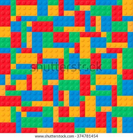 Plastic construction blocks. Pattern 4 colors.  - stock photo