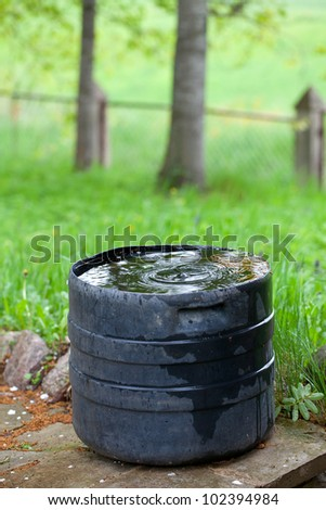 plastic container collecting rain water for plant watering - stock photo