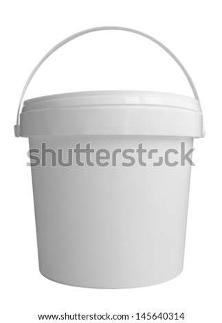 Plastic container for dairy foods. Isolated on a white. Clipping path included. - stock photo