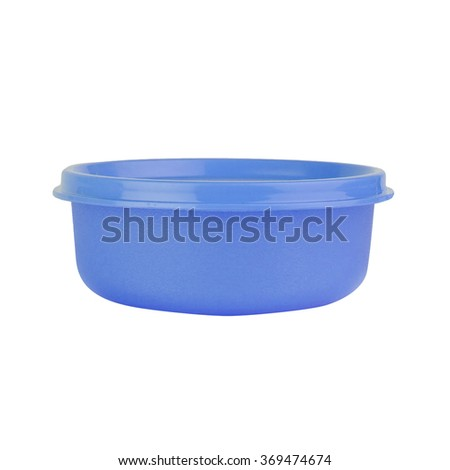Plastic container for food isolated on white - stock photo
