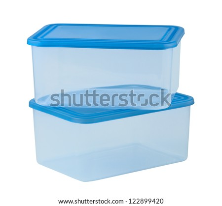 Plastic container for food isolated on white background - stock photo