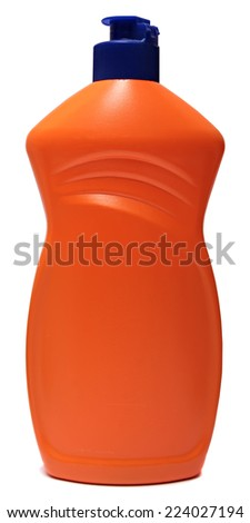 plastic container of cleaning product isolated over white background  - stock photo