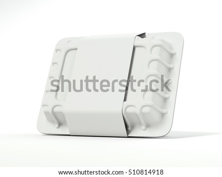 Plastic container with blank white label on a bright floor. 3d rendering