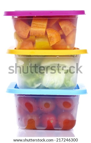 plastic Container with food - stock photo