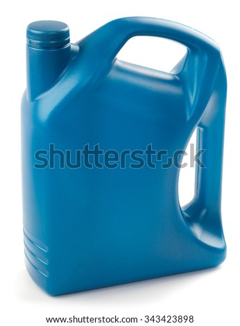 Plastic containers for motor oil is isolated on a white background. - stock photo