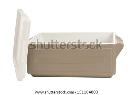 Plastic cooler with opened cover on white background