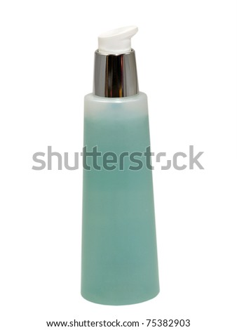Plastic cosmetic container isolated on a white background.