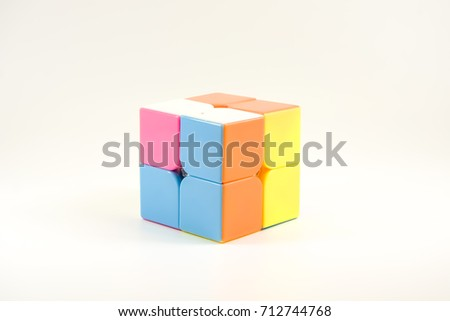 plastic cubic toy on white isolated background.