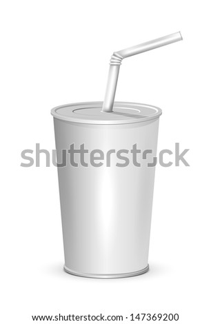 Plastic cup isolated on white background, illustration.