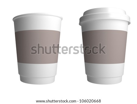 Plastic cup of coffee. 3d render illustration - stock photo
