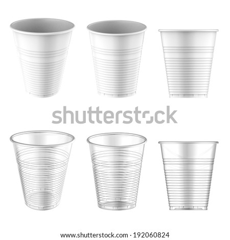 Plastic Cup White and Transparent Clear. Container For Coffee isolated on white. Easy editable for your design. - stock photo