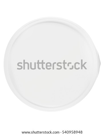 Plastic cup with lid on white background