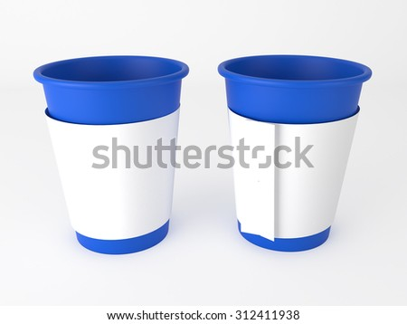 plastic cup with paper belt