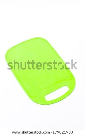 Plastic cutting board isolated white background