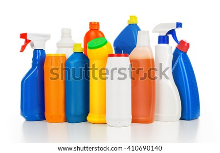 Plastic detergent bottles isolated on white background. Cleaning equipment. - stock photo