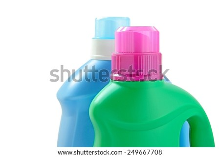 Plastic detergent bottles on white background.  - stock photo