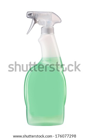 Plastic dispenser with green cleaning liquid / studio photography of spray multipurpose cleaner - isolated on white background  - stock photo