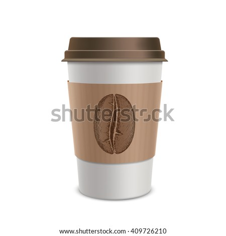 Plastic disposable cups of coffee. Design of the packaging. Isolated on white background.  - stock photo