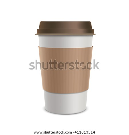 Plastic disposable cups of coffee. Design packaging. Isolated on white background. Stock illustration.