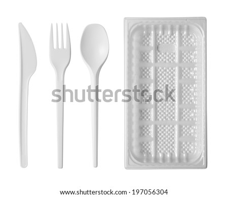 plastic disposable tableware isolated on white background  - stock photo