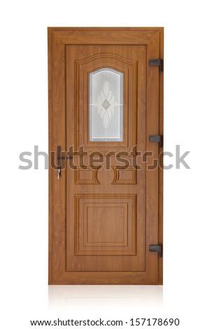 Plastic door isolated on white background - stock photo