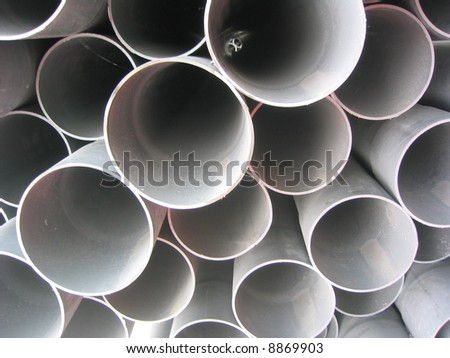 Plastic Drainage Pipes are Stacked for Sale - stock photo