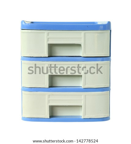 Plastic drawers cabinet isolated on white background