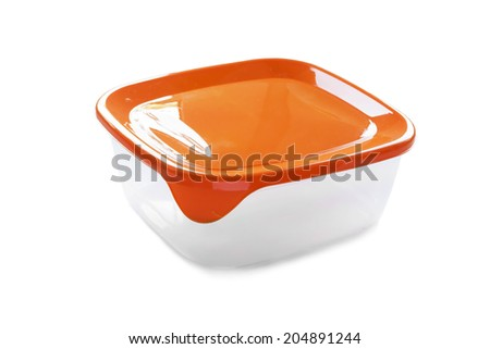 Plastic empty closed container isolated over white