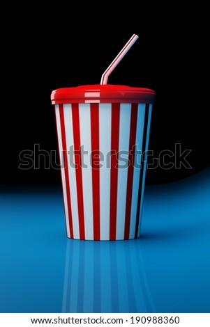 Plastic fast food cola cup on blue background - stock photo