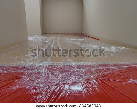 Plastic Film Cover Floor Carpet While Stock Photo Edit Now - How to cover carpet with flooring