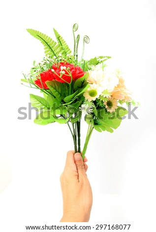 plastic flowers color bright isolated background white