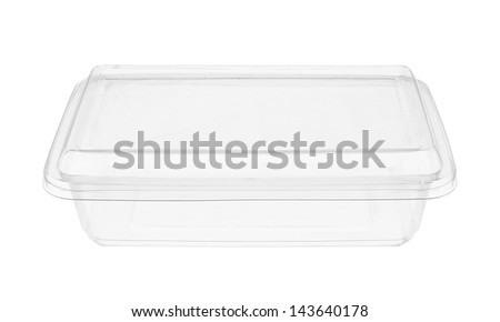 Plastic food box isolated on white background - stock photo