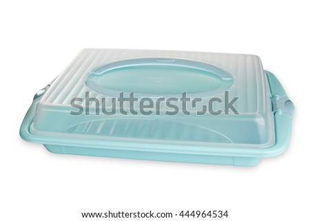 Plastic Food container isolated on white background - stock photo