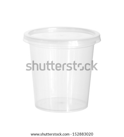 Plastic food cup (with clipping path) isolated on white background - stock photo
