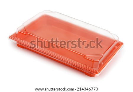 Plastic food package box isolated on white - stock photo