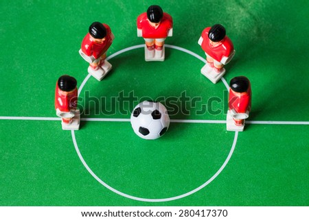 plastic foosball players - stock photo