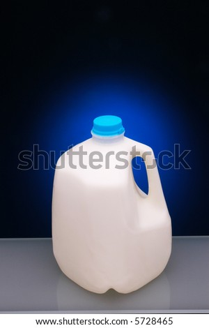 Plastic Gallon Milk Bottle with blue spotlight background