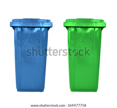 plastic garbage bins isolated - stock photo