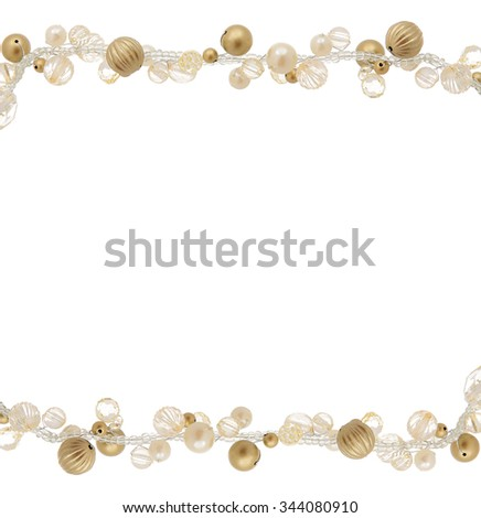Plastic garland for Christmas border. isolated on a white background - stock photo